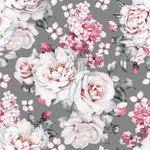 Pink Roses on Gray Bamboo/Spandex Jersey