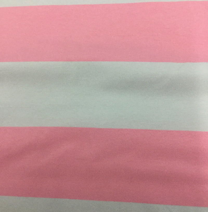 "Pink and Gray 3 1/2"" Stripes on Organic Cotton/Spandex Jersey"
