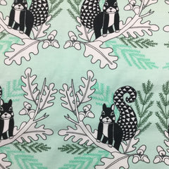 Squirrels on Green Organic Cotton/Spandex Jersey