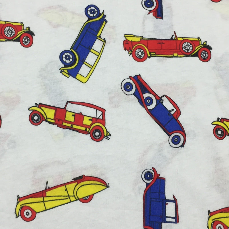 Vintage Cars on White Cotton Jersey