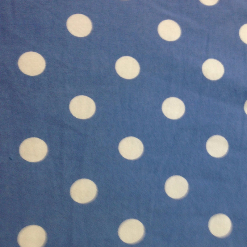 "White 3/4"" Dots on Medium Blue Cotton/Spandex Jersey"