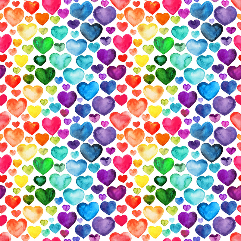 Watercolor Hearts on 100% Organic Cotton Woven - Nature's Fabrics