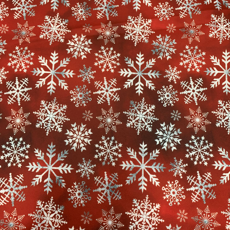 White Snowflakes on Red 1 mil PUL- Made in China