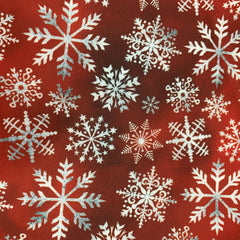 White Snowflakes on Red Bamboo/Spandex Jersey