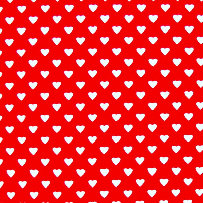 White Heart Confetti on Red Cotton Interlock