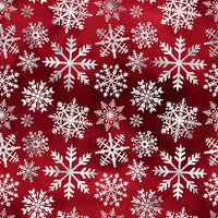 White Snowflakes on Red 1 mil PUL - Made in the USA