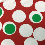 "White with Green 1 1/2"" Dots on Red Cotton/Spandex Jersey"