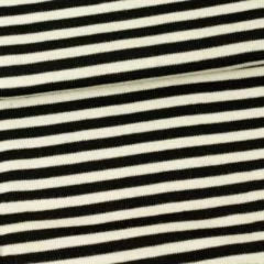Natural and Black Stripes on 100% Merino Wool Washable Interlock