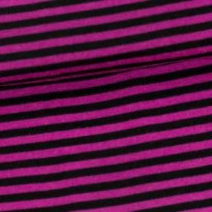 Raspberry and Black Stripes on 100% Merino Wool Washable Interlock
