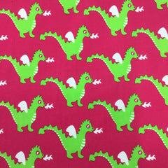 Green Dragons on Pink Organic Cotton/Spandex Jersey