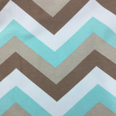 Teal and Brown Chevron on Organic Cotton/Spandex Jersey