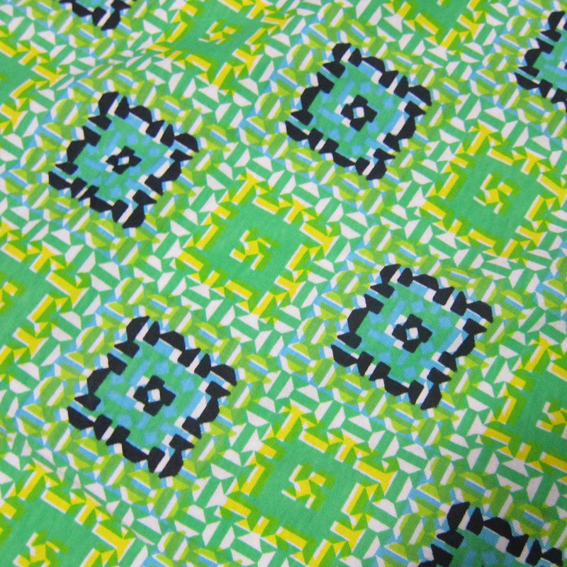 Green and Blue Squares on Cotton Jersey