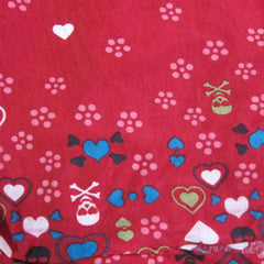 Hearts and Skulls Border Print on Red Cotton Jersey
