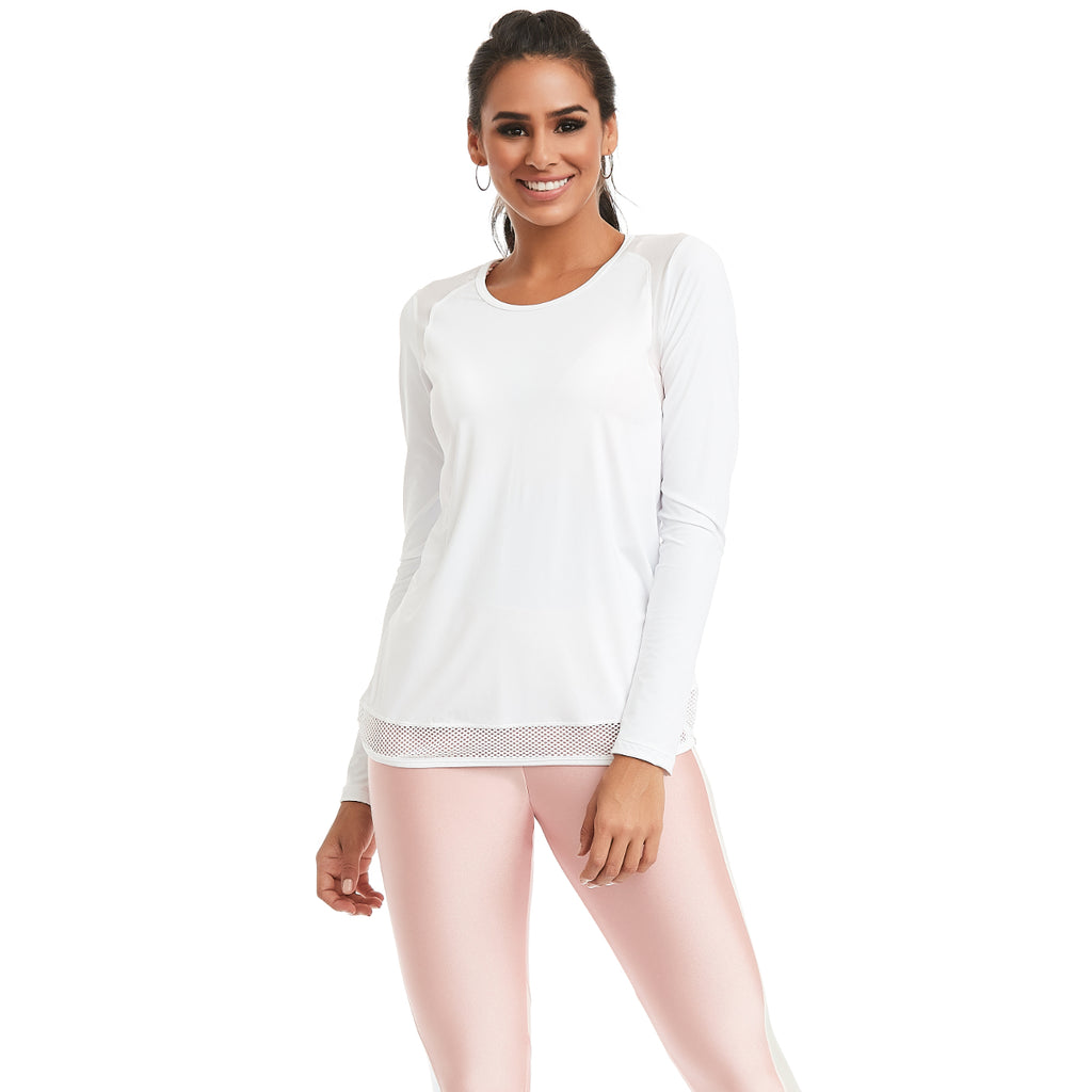 white long sleeve running top womens