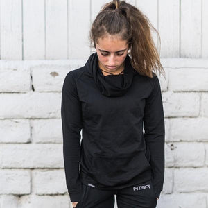 Ruffle Neck Top | Fitspi | Funnel Neck Hoodie