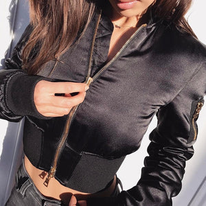 Women's Satin Bomber Jacket