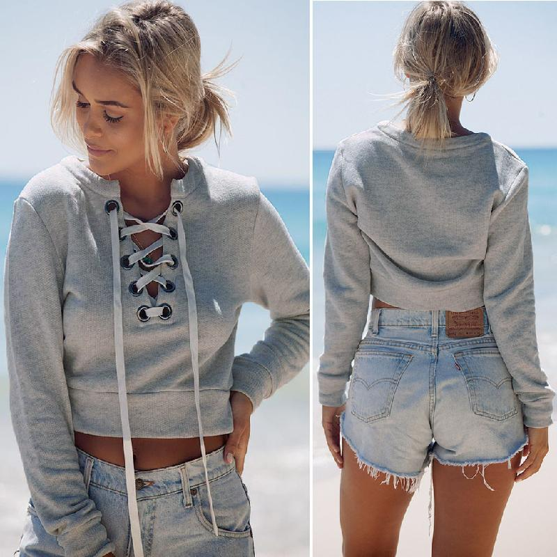 Lace Up Cropped Sweatshirt