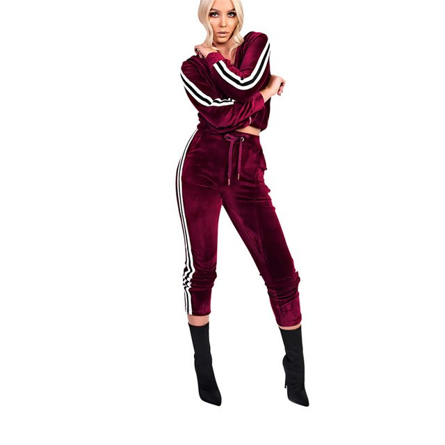 Side Striped Velour Tracksuit