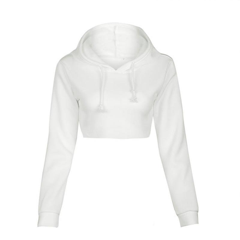 Women's White Crop Top Pullover Hoodie