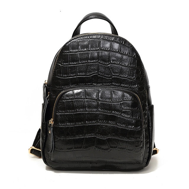 Crocodile Leather Backpack Black