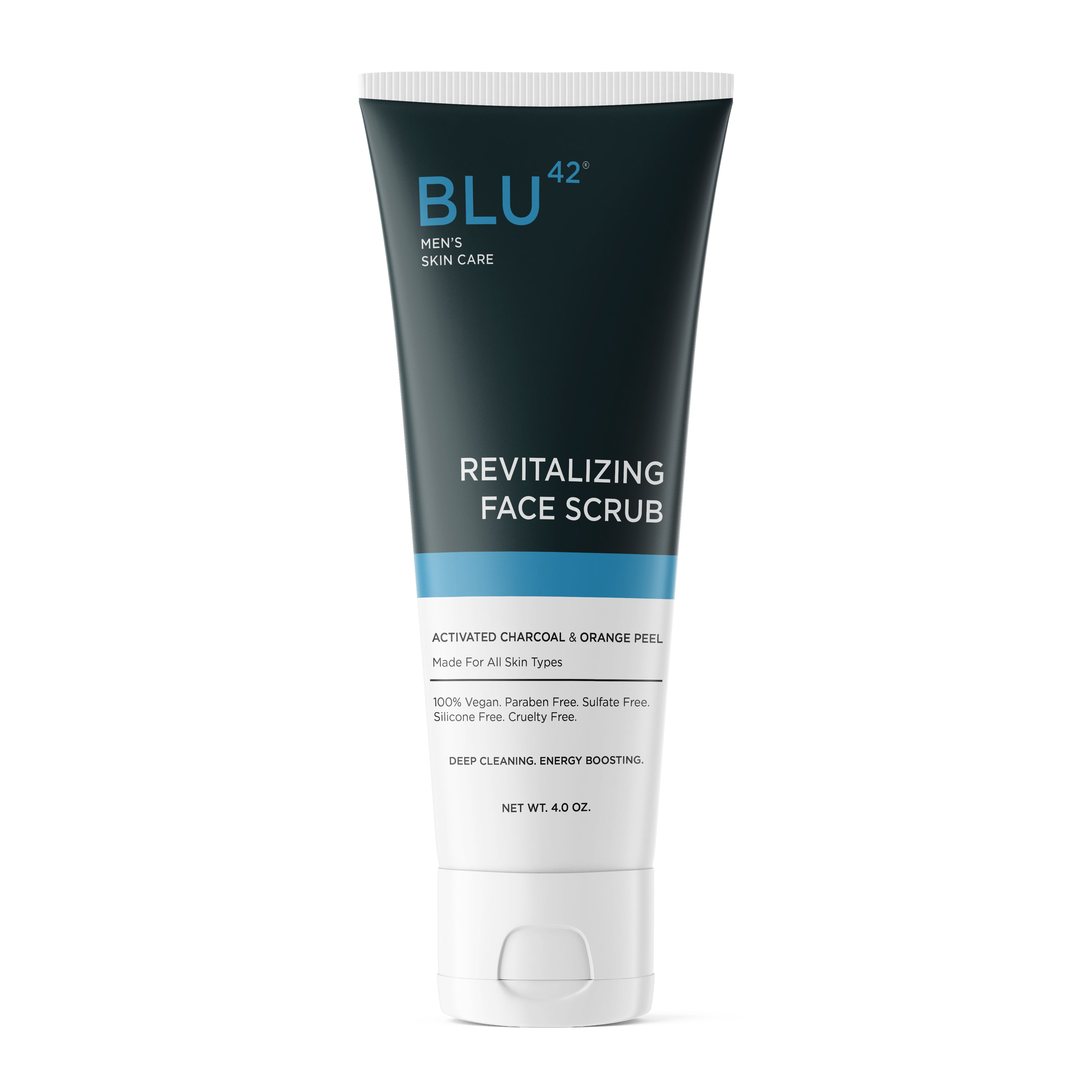 The best men's face wash is our Blu42 Revitalizing Face Scrub filled with Activated Charcoal and Orange Peel and natural clay to exfoliate, draw away toxins, and wake your face up and in one wash,