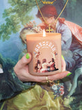 shrine monogram monochromatic nude angel cherub candle with green nails and da vinci top shop shrine