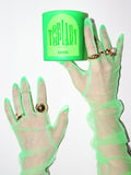 shrine topiary neon green candle with tulle glove hands