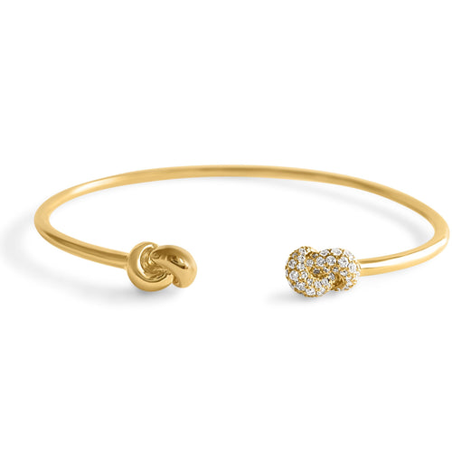 Mini Knot Bracelet - Yellow Gold & Diamonds