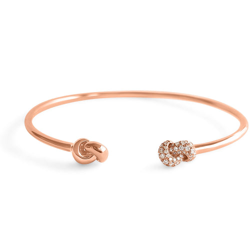 Mini Knot Bracelet Pink Gold & Diamonds
