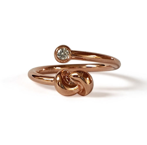 Mini Knot Ring in Pink Gold