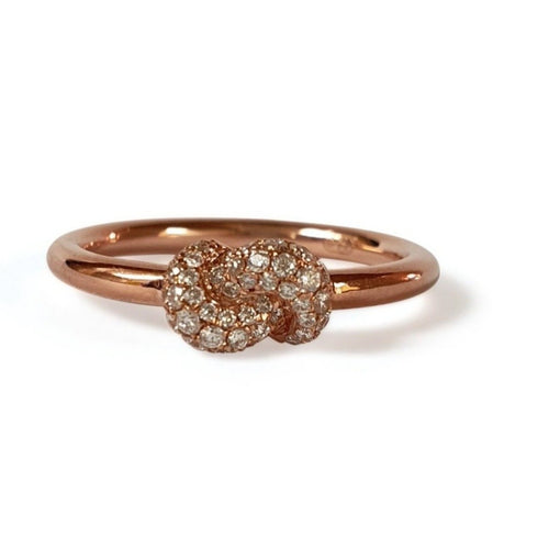 Mini Knot Ring in Pink Gold with Knot on Top