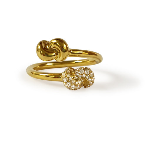 Mini Knot Ring in Yellow Gold with Double Knots