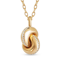 Load image into Gallery viewer, XL-Love Knot pendant – Pink Gold & Diamond