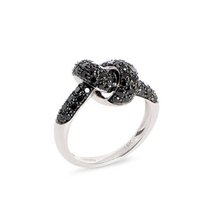 The Love Knot Ring - White Gold & Black Diamond