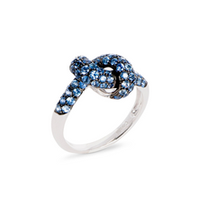 Load image into Gallery viewer, The Love Knot Ring - White Gold & Blue Sapphire