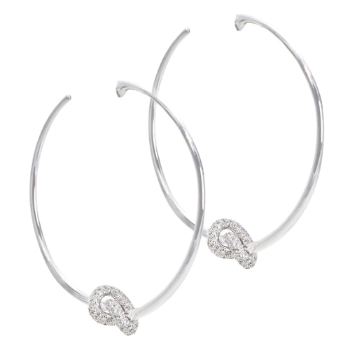The Love Knot Hoops - White Gold & Diamond