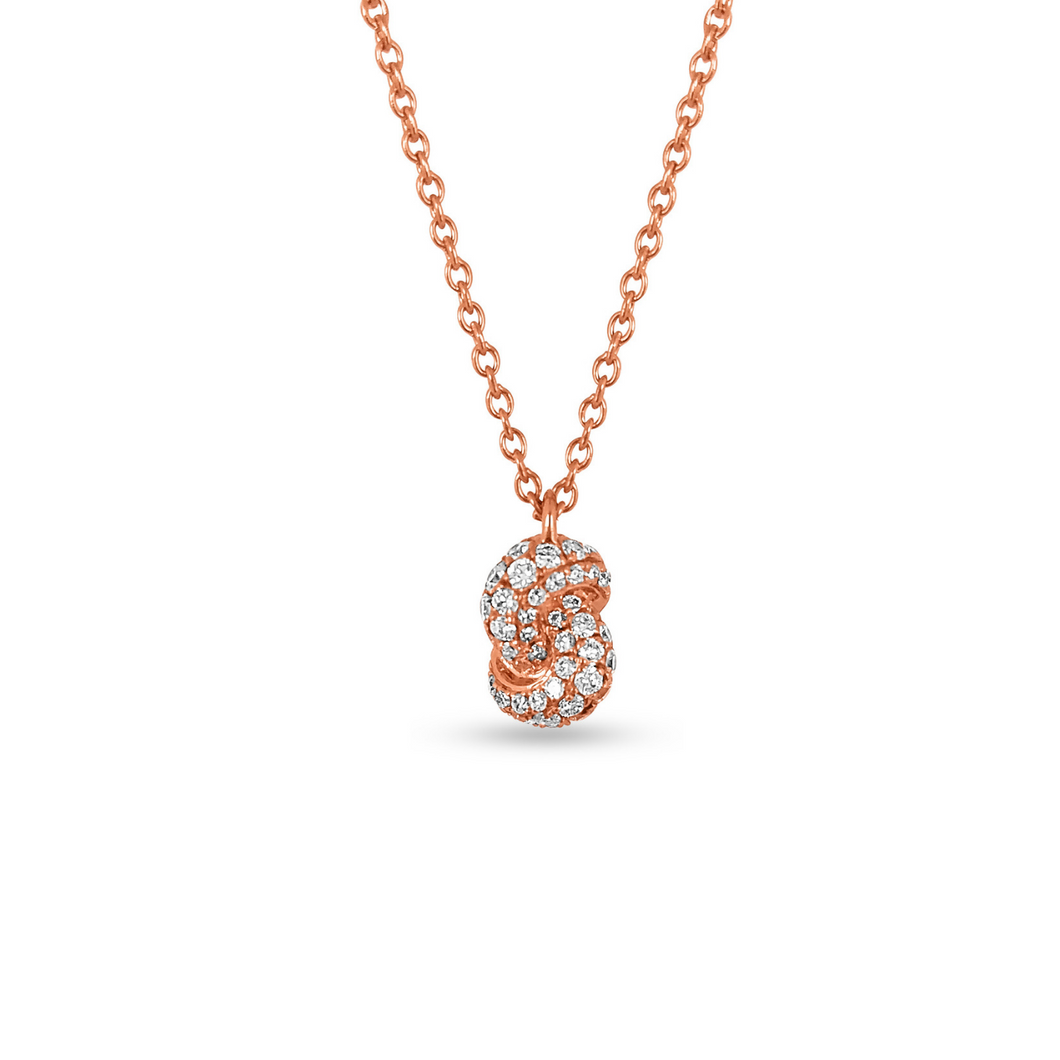 Mini Knot Pendant in Pink Gold