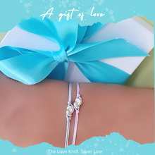 Load image into Gallery viewer, Silver Mini Knot Bracelet With Blue String~Gift Ready