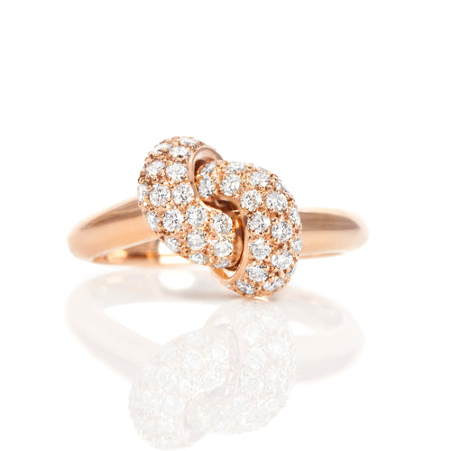The Love Knot Ring  - Pink Gold & Diamond on Knot