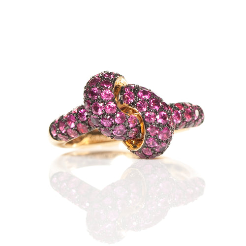 The Love Knot Ring - Yellow Gold & Ruby