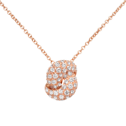 The Love Knot Gold and Diamond Pendant - Pink