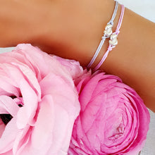 Load image into Gallery viewer, Silver Mini Knot Bracelet With Pink String~Gift Ready