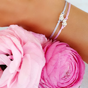 Silver Mini Knot Bracelet With Pink String~Gift Ready