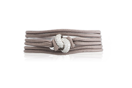 The Love Knot Bracelet - White Gold & Diamond on Silk