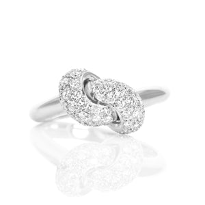 The Love Knot Ring  - White Gold & Diamond on Knot