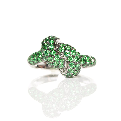 The Love Knot Ring - White Gold & Tsavorite