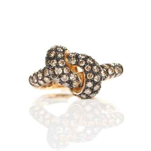 The Love Knot Ring - Yellow Gold & Brown Diamond