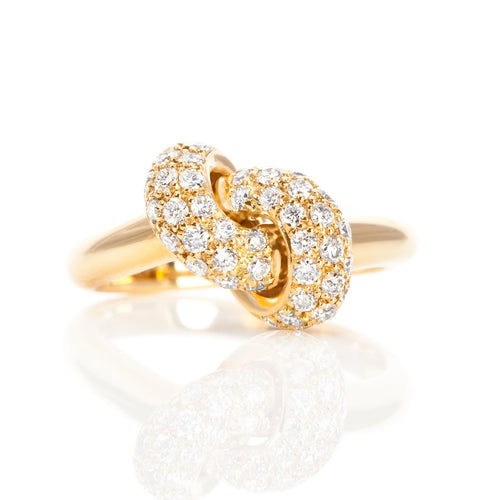 The Love Knot Ring  - Yellow Gold & Diamond on Knot