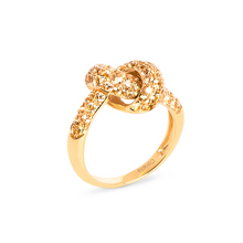 Load image into Gallery viewer, The Love Knot Ring - Yellow Gold & Yellow Sapphire