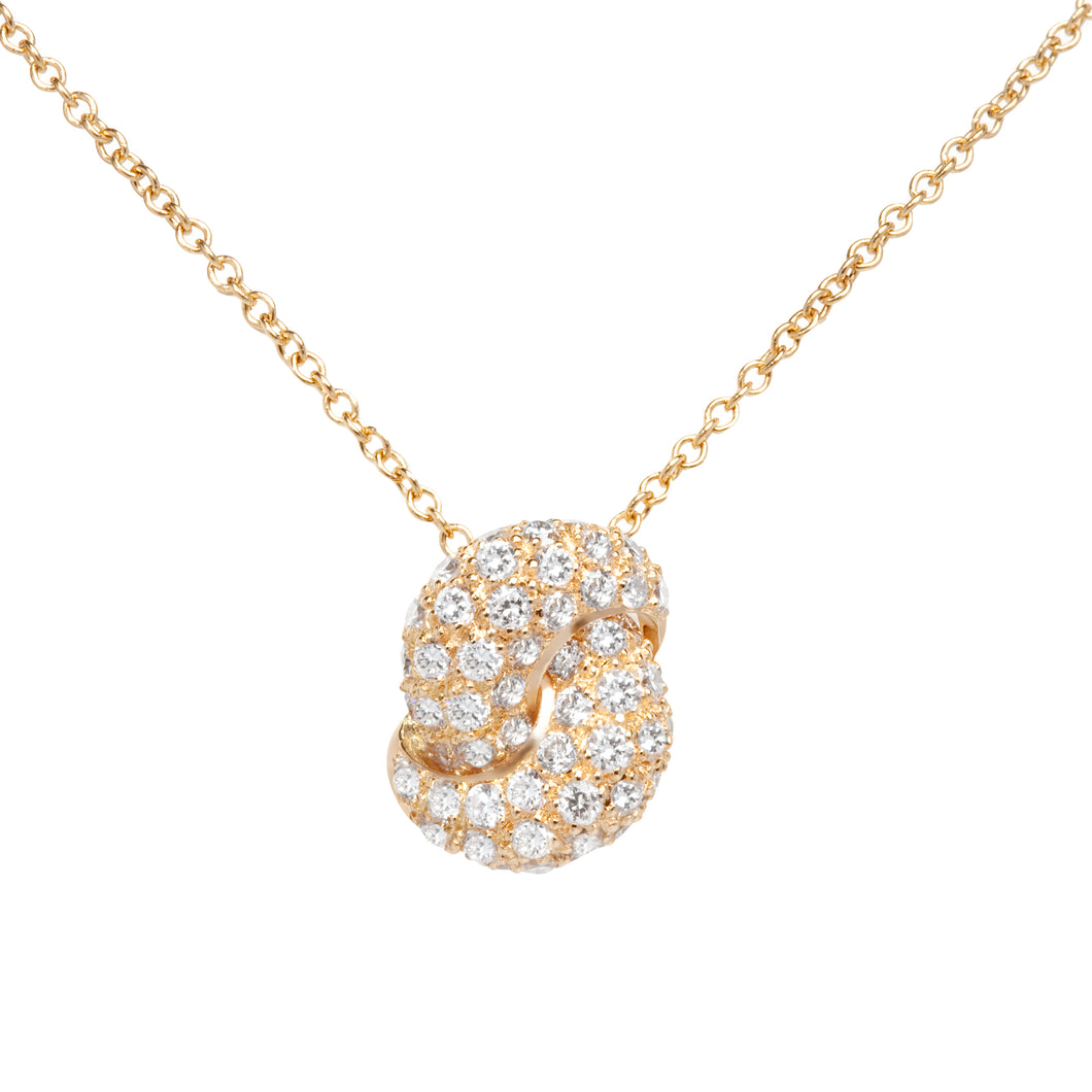 The Love Knot Gold and Diamond Pendant - Yellow